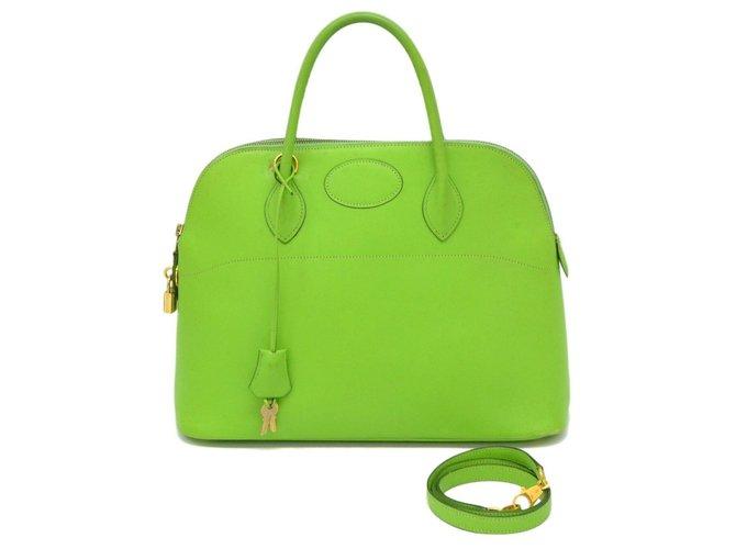 Hermès Hermes Bolide 35 Handbags Leather Green ref.178349