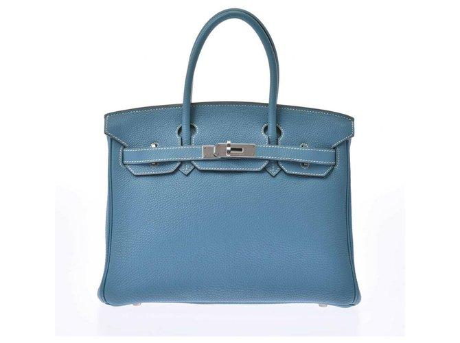 Hermès HERMES BIRKIN 30 Handbags Leather Blue ref.178385
