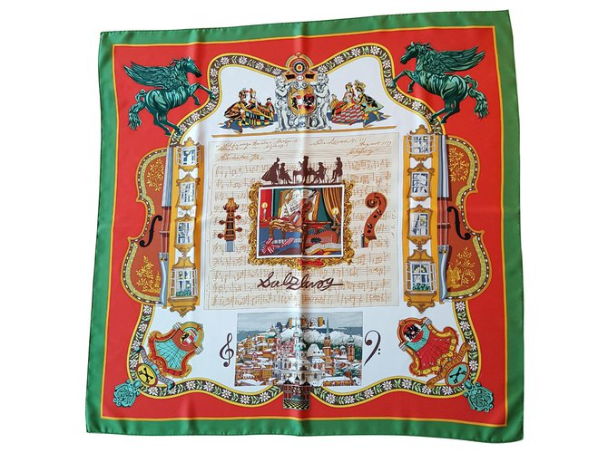 Hermès artist Loic Dubigeon, Carré Salzburg Silk scarves Silk Multiple colors ref.178432
