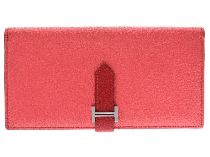 Hermès Hermes Bearn wallet Purses, wallets, cases Leather Pink ref.178654