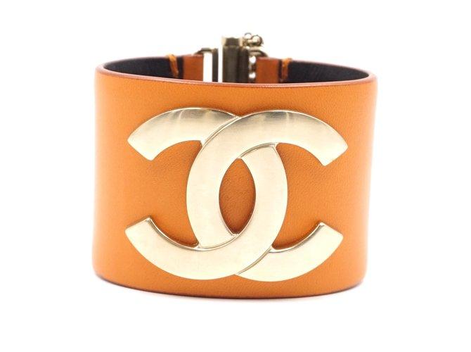 Bracelets Chanel Bracelet Chanel Large Glide Lock Chanel Or Orange Cuir Cuir Orange ref.178695
