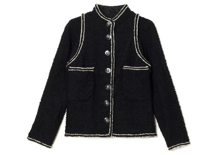 Chanel BLACK SILVER FUTURE FR40/42 Jackets Wool Black ref.178874