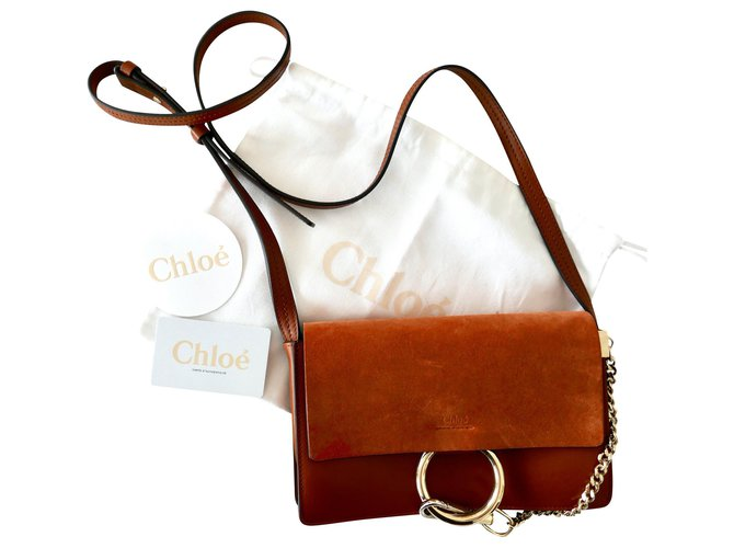 Chloé small faye tobacco bag Handbags Leather Brown ref.179120