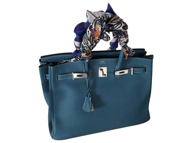 Hermès Birkin 35 Handbags Leather Blue ref.179183