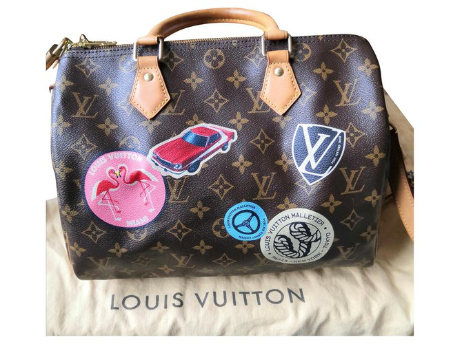 Louis Vuitton Sublime speedy shoulder bag world tour Handbags Leather,Cloth Dark brown ref.179306