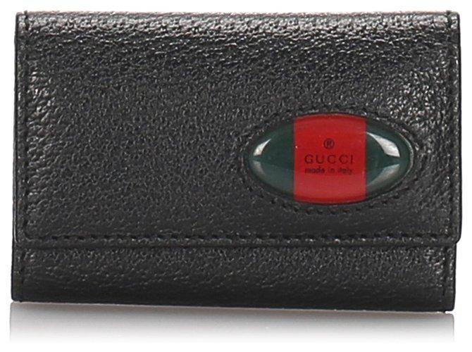 Gucci Gucci Black Leather Web Key Holder Misc Leather,Pony-style calfskin Black ref.179360