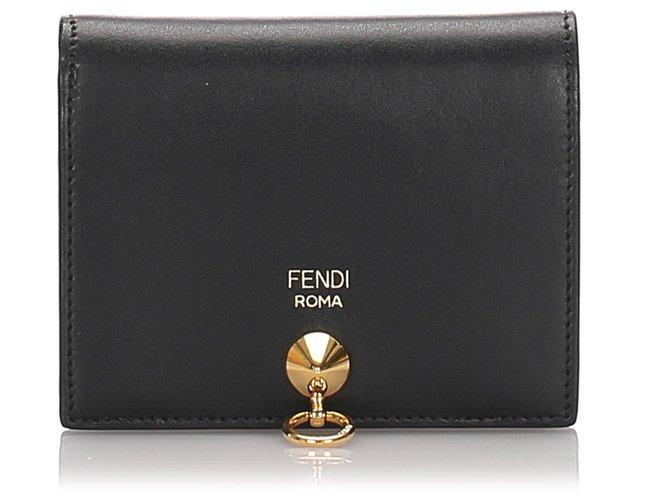 Fendi Fendi Black Leather Bifold Wallet Misc Leather,Pony-style calfskin Black ref.179432