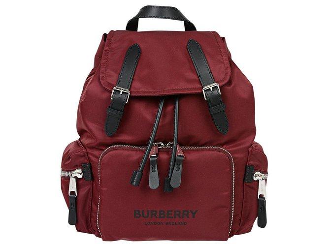 Burberry BURBERRY FABRIC RUCKSACK BACKPACK NEW Backpacks Leather,Polyamide Dark red ref.179464
