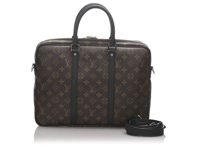 Louis Vuitton Louis Vuitton Brown Monogram Macassar Porte-Documents Jour Misc Leather,Cloth,Pony-style calfskin Brown,Black ref.179643
