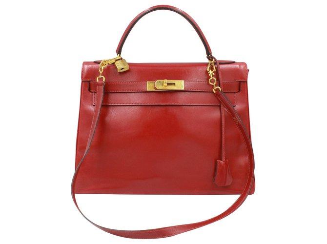Hermès Vintage Hermes Kelly 32 in red box leather Handbags Leather Red ref.179745