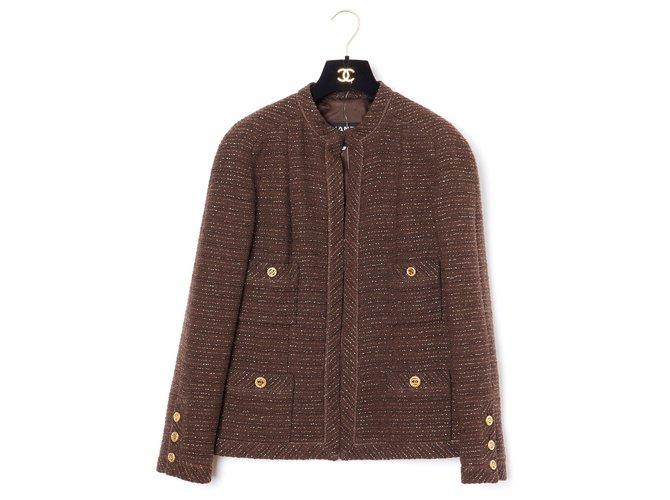 Chanel BROWN LUREX FR40 Jackets Wool Brown,Golden ref.179785