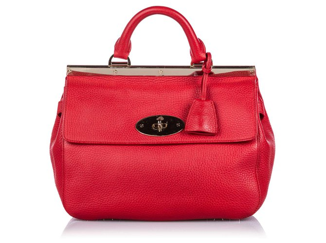 Mulberry Mulberry Red Small Leather Suffolk Satchel Handbags Leather,Pony-style calfskin Red ref.179828