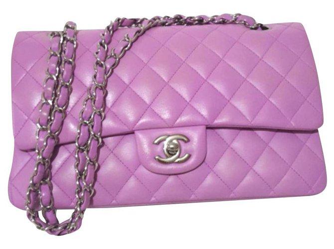 Sacs à main Chanel Sac à rabat moyen classique lilas rose Chanel Cuir Rose ref.179849