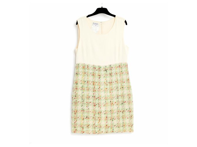 Chanel silk and tweed FR40 Dresses Silk,Tweed Green,Cream ref.179914
