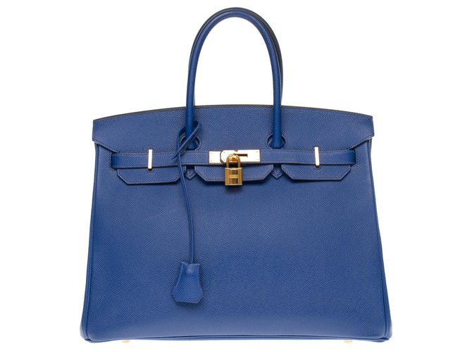 Hermès HERMES BIRKIN 35 in electric blue epsom, gold plated metal trim Handbags Leather Blue ref.179974