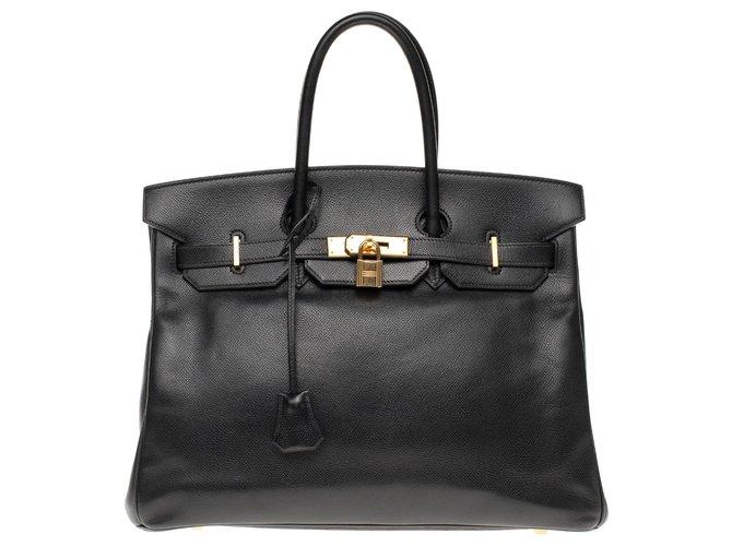 Sacs à main Hermès Hermès Birkin 35 en cuir Courchevel noir, garniture en métal plaqué or Cuir Noir ref.179984