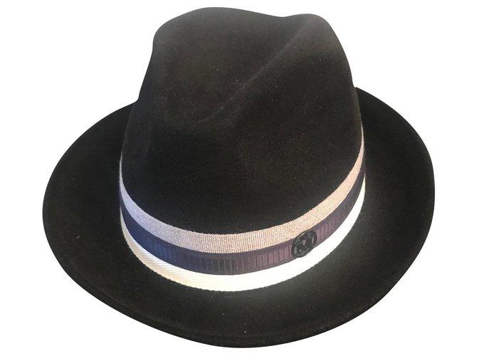 Maison Michel hat Hats Deerskin Black ref.180007