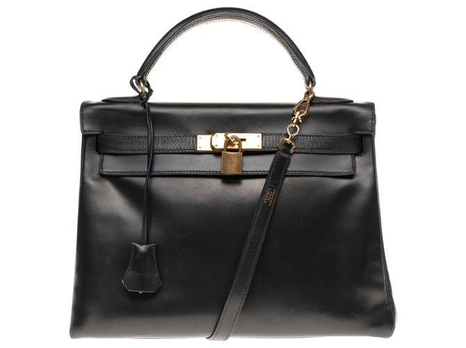 Hermès Beautiful Hermès Kelly bag 3returned black box leather strap, gold plated metal trim Handbags Leather Black ref.180102