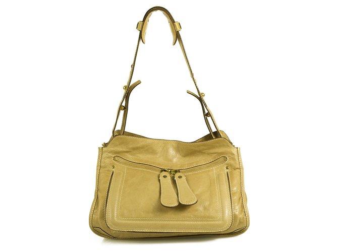Chloé CHLOE Bay Signature Zipper Pulls Beige Distressed Leather Shoulder Bag Handbag Handbags Leather Beige ref.180126