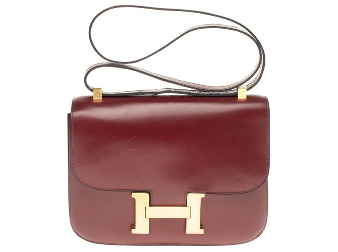 Hermès Hermes Constance 23 burgundy Box leather, gold-plated metal trim in very good condition Handbags Leather Dark red ref.180136
