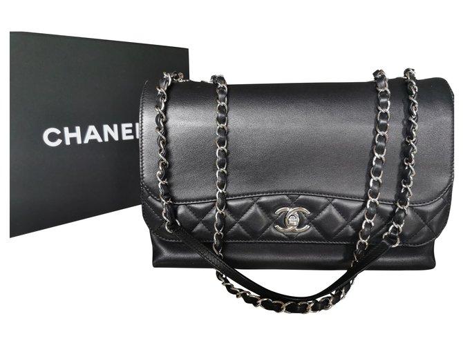 Sacs à main Chanel Tramazzo Cuir Noir ref.180400