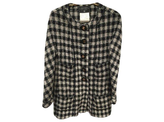 Chanel Jackets Jackets Wool,Polyamide Black,White,Grey ref.180418