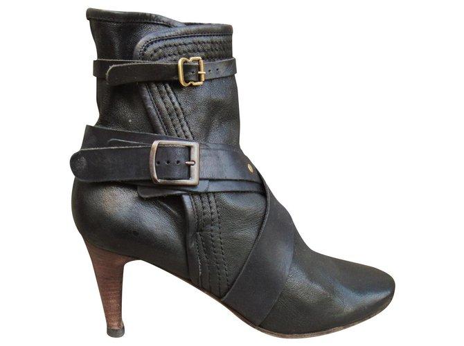 Chloé Chloé p boots 39,5 Ankle Boots Leather Black ref.180495