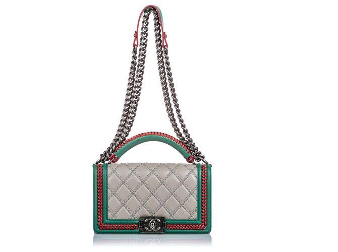 Sacs à main Chanel Chanel Brown Medium Lambskin Leather Handle Top Flap Boy Flap Bag Cuir,Autre,Métal Marron,Multicolore,Beige ref.180618