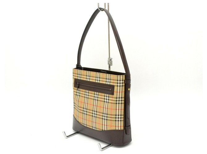 Burberry Burberry Canvas Leather Shoulder Hand Bag Plaid Handbags Leather Beige ref.180687