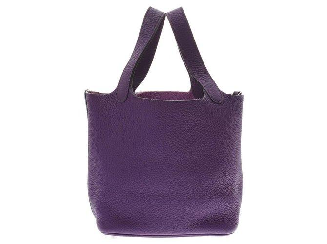 Hermès Hermès Picotin Handbags Leather Purple ref.180822