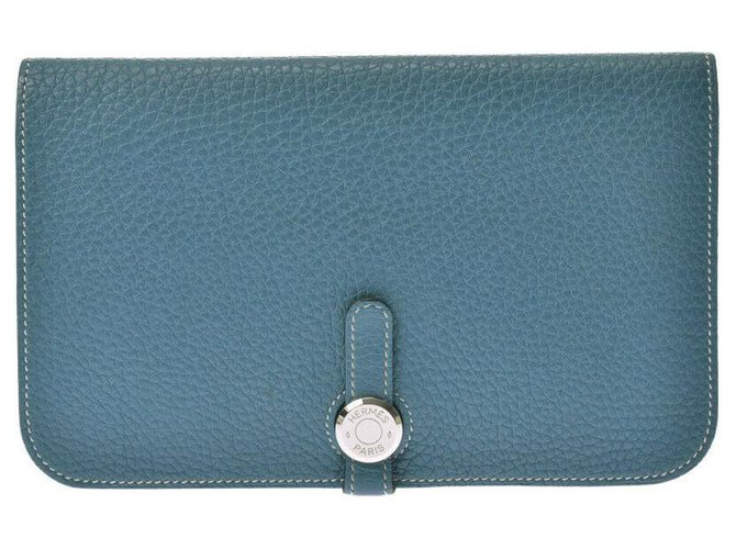 Hermès Hermès Dogon GM Long wallet Purses, wallets, cases Leather Blue ref.180983