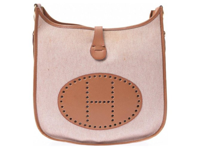 Hermès Hermès Evelyn GM Handbags Cotton Beige ref.181138