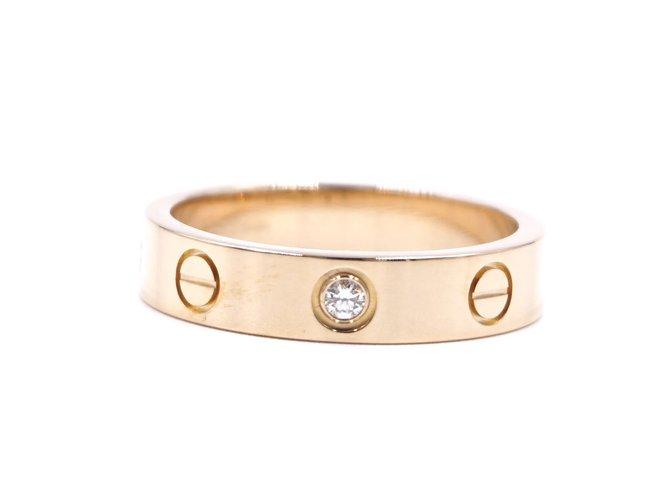Bagues Cartier cartier 18K 750 1Taille de bague P Diamond Love 50 Or rose Doré ref.181502