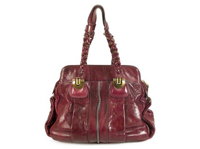 Chloé Chloe Heloise Magenta Leather Satchel Shoulder Bag with braided shoulder straps Handbags Leather Dark red ref.181834