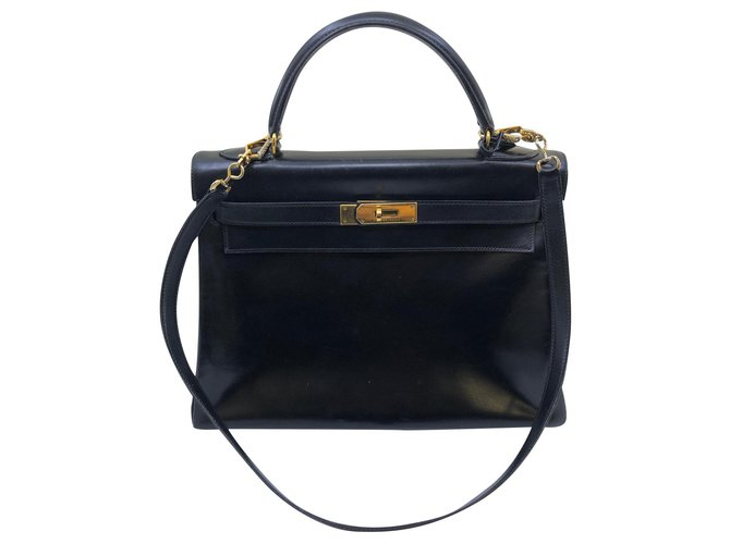 Hermès Kelly 32 Handbags Leather Black ref.182022