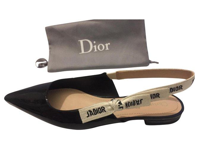 Christian Dior J'adior Ballet flats Patent leather Black ref.182044