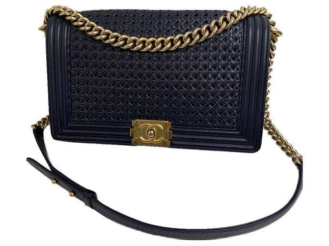 Chanel Chanel Handbags Leather Dark blue ref.182074