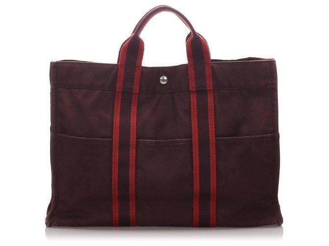 Cabas Hermès Hermes Brown cabas MM Toile,Tissu Marron,Rouge ref.182348