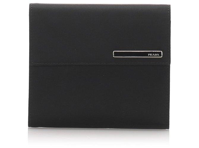Prada Prada Black Canvas Trifold Small Wallet Misc Leather,Cloth,Pony-style calfskin,Cloth Black ref.182383
