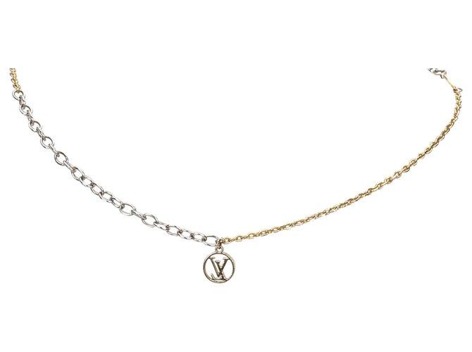 Louis Vuitton Louis Vuitton Silver Logo Mania Necklace Misc Other,Metal Silvery,Golden ref.182401