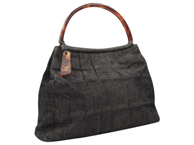 Sacs à main Chanel Chanel handbag in grey denim Jean Gris ref.182437