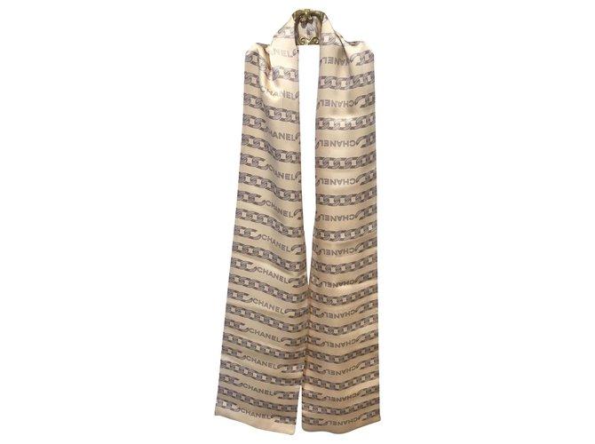 Chanel Scarves Scarves Silk Beige ref.182701