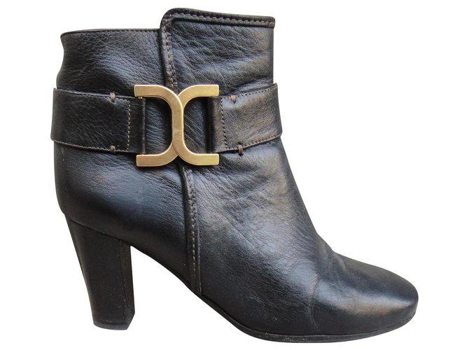 Chloé Chloé p boots 36 Ankle Boots Leather Black ref.182722