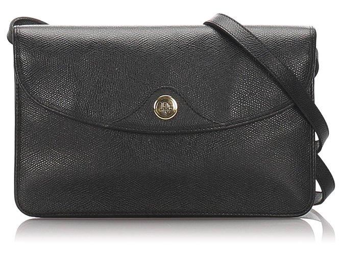 Sacs à main Dior Sac bandoulière en cuir noir Dior Cuir,Veau façon poulain Noir ref.182835