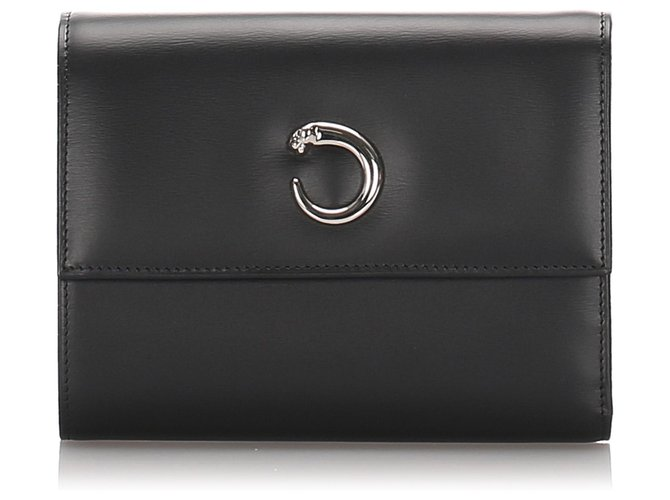 Cartier Cartier Black Leather Panthere Wallet Misc Leather,Pony-style calfskin Black ref.182979