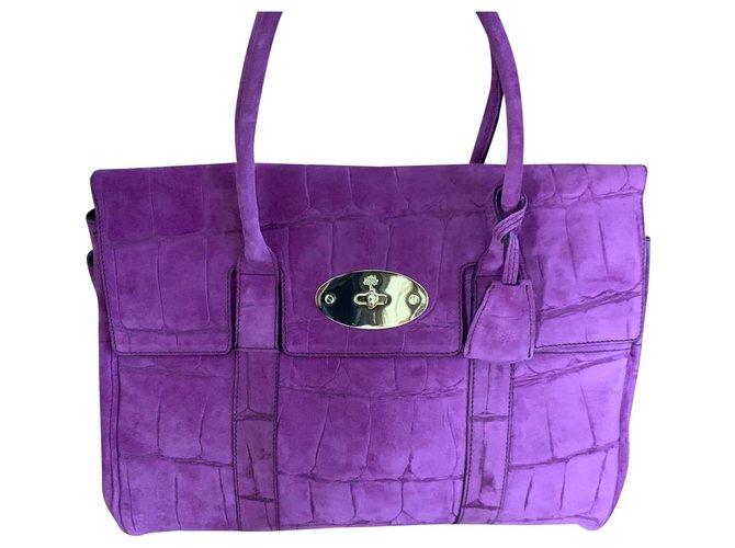 Mulberry Bayswater Suede Croc Print Handbags Suede Purple ref.183032