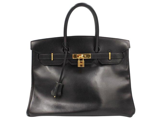 Hermès HERMES BIRKIN 35 handbag in black box leather Handbags Leather Black ref.183116