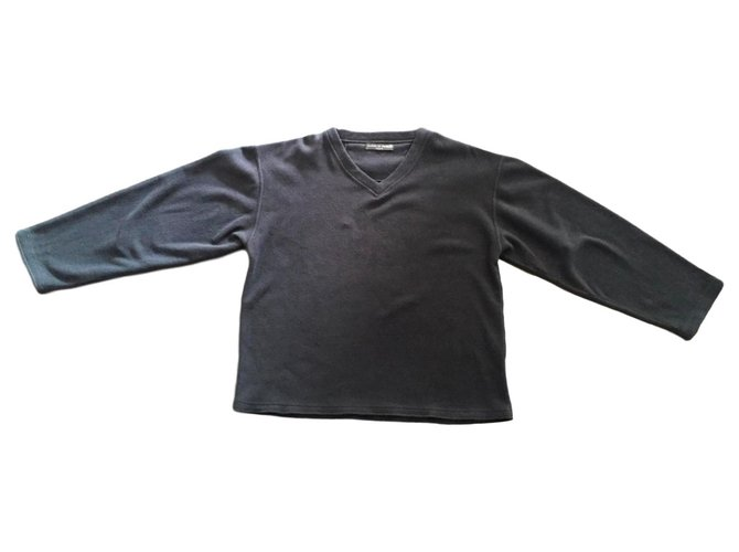 Autre Marque Gray fleece V neck ML T. XL Family house Sweaters Polyester Dark grey ref.183240