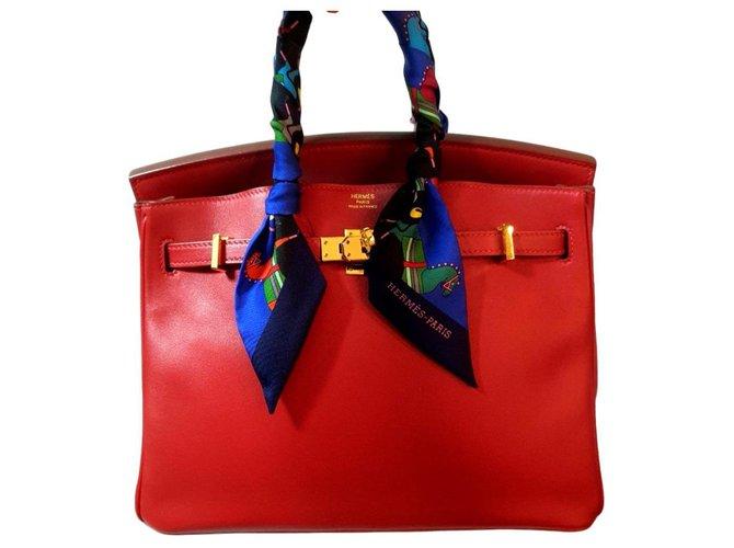 Sacs à main Hermès HERMES BIRKIN 25 Rouge Vermillion GHW Cuir Rouge ref.183288