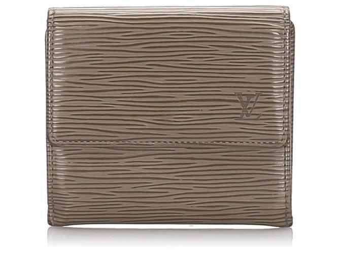 Décoration divers Louis Vuitton Louis Vuitton Brown Epi Porte Monnaie Billets Tresor Wallet Cuir Marron ref.183533